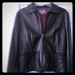 Ann Taylor Leather Coat - size medium